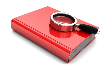 Red book with magnifier isolated on a white background    photo