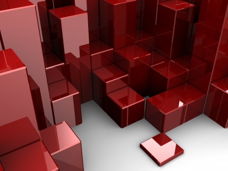 crowded space: Red different digital cubes, 3d idea