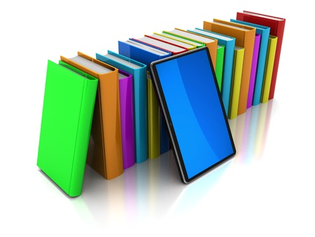Row of color books with mobile phone on a white background photo