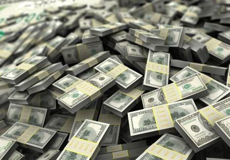 mucho dinero: Concepto de dinero, una gran cantidad de cien dólares 3d imagen