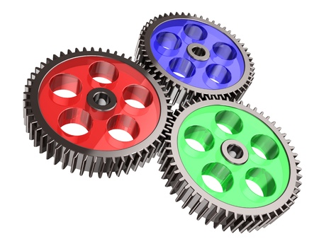 Modern gears making system isolated on a white background Stock Photo - 15209556