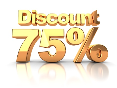Discount coupon with 75 percent on a white background photo