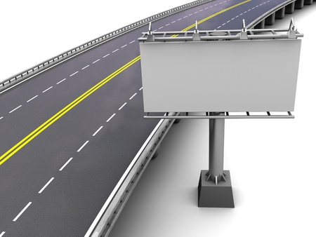 autobahn: Motorway with empty billboard in perspective, 3d Stock Photo
