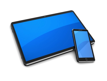 Modern tablet computer with cellphone on a white background photo