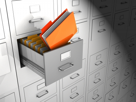 Open box with important files, 3d image Stock Photo - 15128334