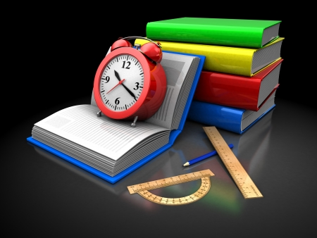 Stake of color books with clock, pencil, rulers over black background photo