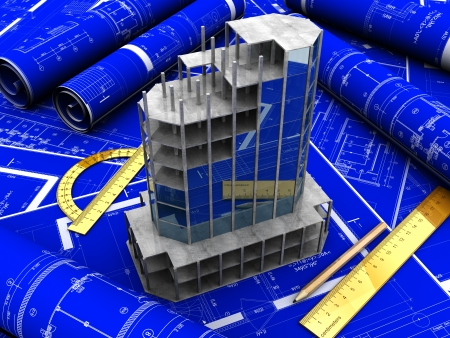 Moderne arhitectural Projekt mit Bleistift und Vorschriften auf blauem Papier Standard-Bild