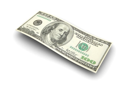 3d image, hundred dollars isolated on a white background   Stock Photo - 15128325