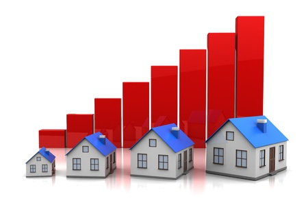 upward graph: Growth in real estate shown on graph