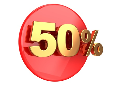 pay off: Discount coupon  50 percent on a red circle Stock Photo