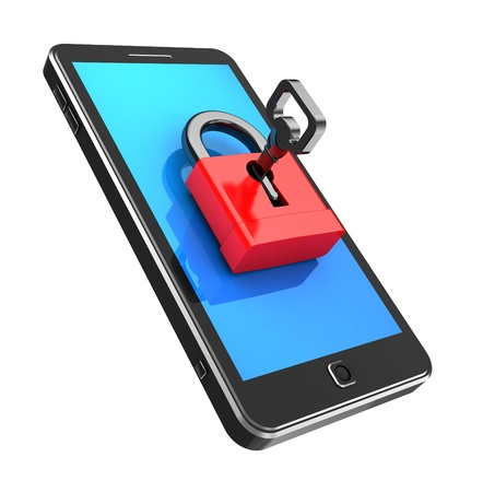 Safely concept  cellphone locked with key Stock Photo - 15128308