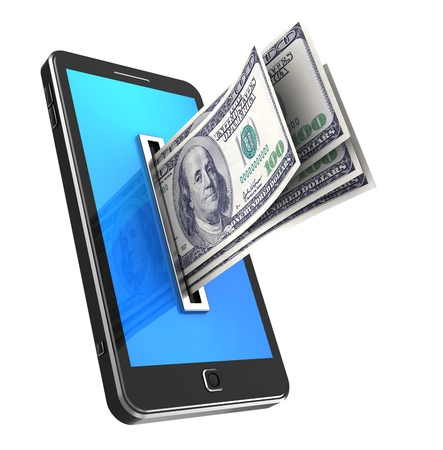 Modern phone with dollars isolated on a white background photo