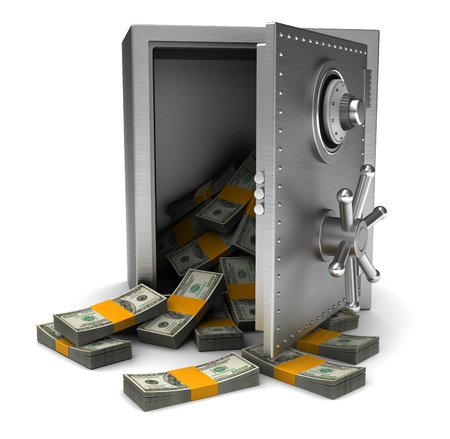 robberies: Money in open safe isolated on white background Stock Photo