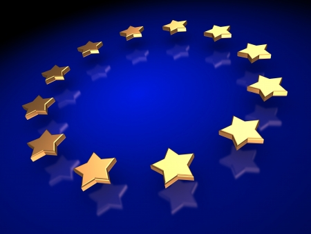 five star: Ranking   group of golden stars on a blue background Stock Photo