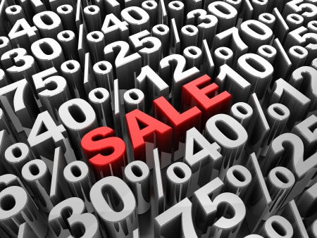 sale off: Sale 3d-text in center of different percents Stock Photo