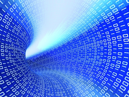 hyperspace: 3d technology blue binary code with light