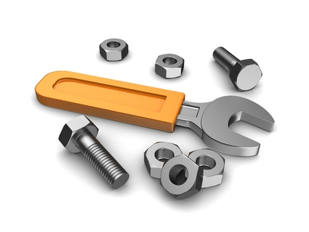 Repair service  wrench with yellow handle, three screws and bolt Stock Photo - 15128318