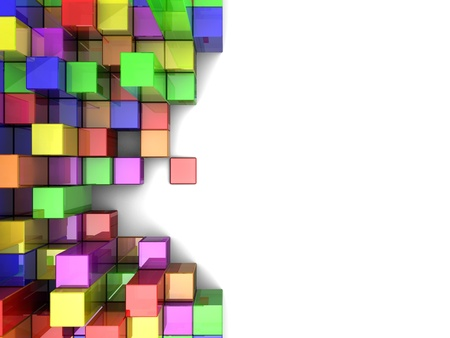 cubic: Colorful  digital cubes over white background