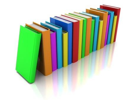 Row of color books with green book in front on a white background photo
