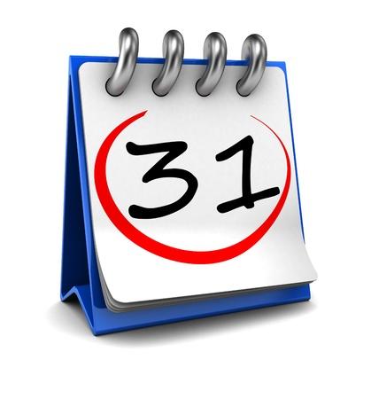 kalendarium: 3d kalendarz z numerem 31 na białym tle