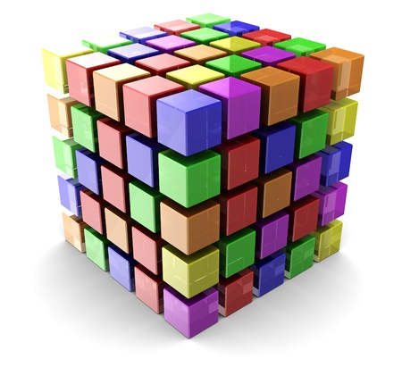 Digital cube made of small colorful boxes over white background photo