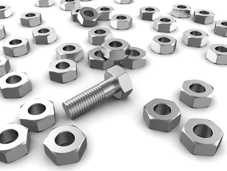 Metallic bolt with several screws over white background Stock Photo - 15330997