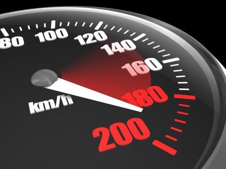 car speed: Full black car speedometer showing speed