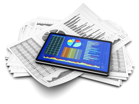 Computer tablet with business documents Stock Photo - 15330998