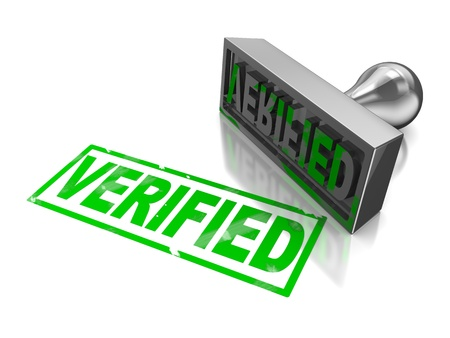 verified: Stamp verifie with green text isolated on a white background Stock Photo