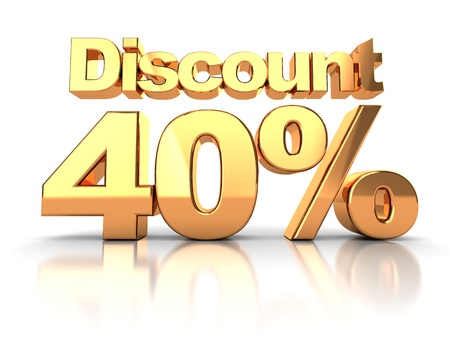 Discount coupon with 40 percent on a white background photo