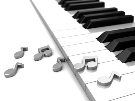 Modern piano with grey music notes, 3d illustration