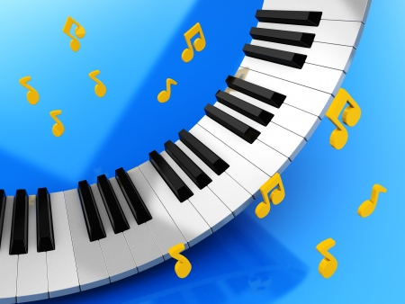 Music keys and golden notes over blue background photo