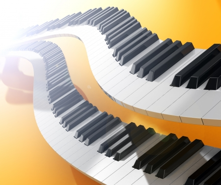 Two modern synthesizers curves over yellow background photo