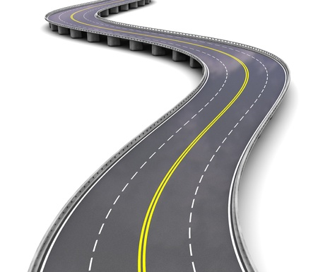 autobahn: Empty motorway with turns over white background Stock Photo