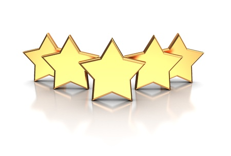 five stars: 3d illustration of golden five stars isolated on a white background Stock Photo