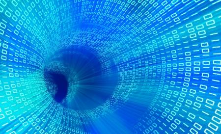 codigo binario: 3d túnel azul con la tecnología de código binario Foto de archivo