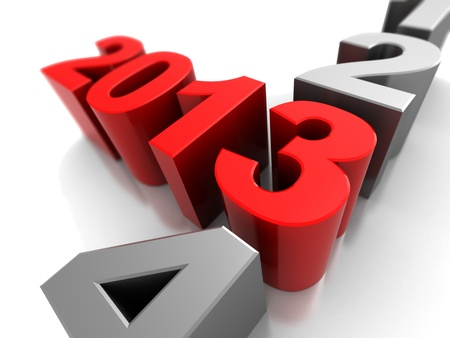 3d illustration, symbol of new year  2013 illustration