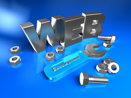 web sites: 3d web with bolts and screw-nuts Stock Photo