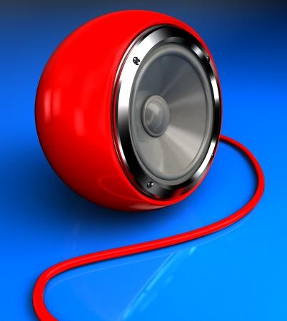 tweeter: Red modern tweeter over blue, 3d  image