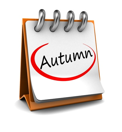 month 3d: 3d calendar with word autumn isolated on white background