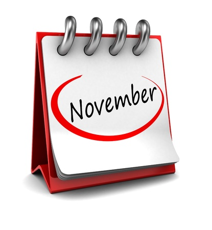 month 3d: 3d calendar with word November isolated on white background Stock Photo