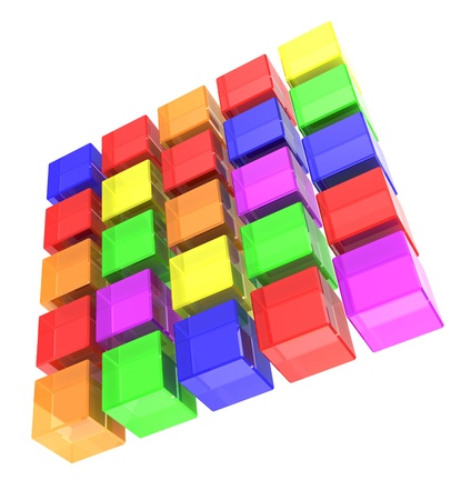 disorganization: Digital colorful cubes made square  isolated on a white background Stock Photo