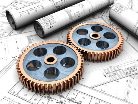 toothed: Industrial project of two gears over project