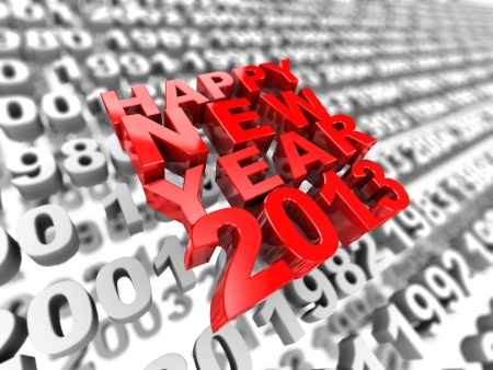 3d image happy new year 2013 on the background of grey numbers photo