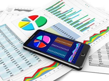 financial analysis: Business report in mobile phone, new technology