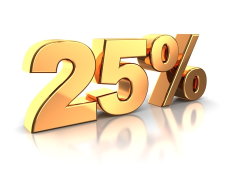 selloff: 3d of golden 25 percent isolated on a white background