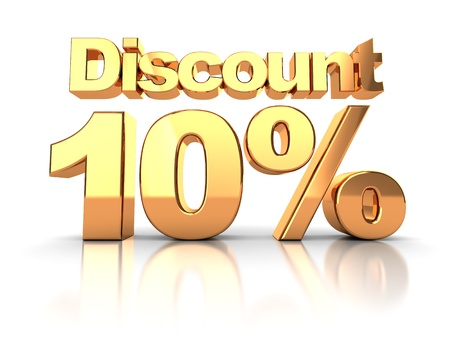 off: Discount coupon with 10 percent on a white background Stock Photo