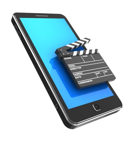 Modern phone with clapperboard isolated on a white background photo