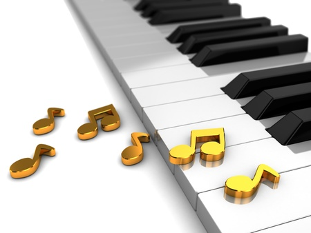octave: Classic piano with golden music notes, 3d illustration