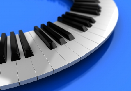 Modern synthesizer  over blue background, 3d illustration illustration